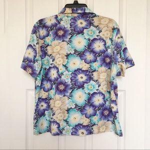 Erika Tops - Erika Hawaiian Shirt-Blue/Yellow-Size XL